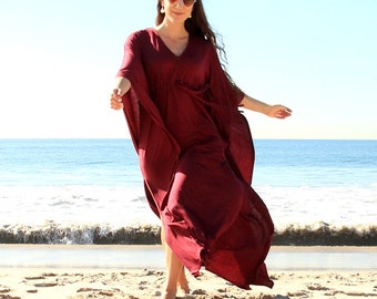 Kaftan Maxi Dress in Burgundy Wine Jersey Knit - Long Caftan - Lots of Colors