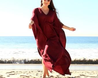 Kaftan Maxi Dress in Burgundy Wine Jersey Knit - Long Caftan - Lots of Colors