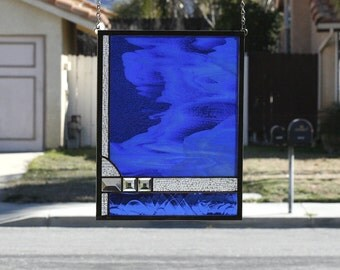 OCEAN BY MOONLIGHT-Abstract Stained Glass Window Panel, Stain Glass, Ocean, Sea, Moon, Royal Blue, Cobalt Blue, Clear, White,Ready to Ship
