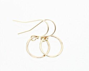 Solid gold earrings - 14k gold jewelry - 14k gold earrings - minimalist earrings - 14k gold circle earrings - 14k gold hoop earrings - 14kt