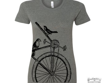 Womens SPARROW BIKE T Shirt -hand screen printed s m l xl xxl (+ Colors Available)