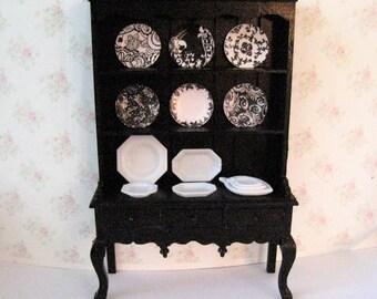 Dollhouse  Hutch, filled hutch, dining room dresser,  Black elegant , card plates, blackwhite plates, , twelfth scale, dollhouse miniature