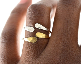 Hammered Cuff Ring, Open Midi Ring
