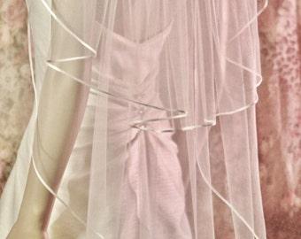 SATIN RIBBON wedding VEIL, Waltz Length Veil 2 tier Ribbon Edge, 1/8 Satin Edge