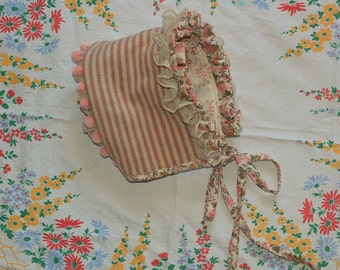 PINK and CREAM, EDWARDIAN Syle, Wool Bonnet, Vintage Lace, Fully Lined, Original Design, Fits 6yr up to Adult, By Atticusfinchnz