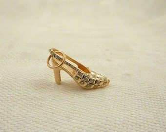 Vintage 14K Gold and Rhinestones High Heel Strap Shoe Charm