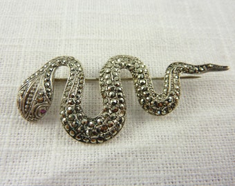 Antique Art Deco Sterling Marcasite Snake Brooch with Ruby Eyes