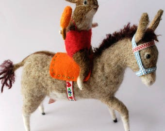 Original Animal Needle Felted  Seaside Donkey  with Bunny and Carrot