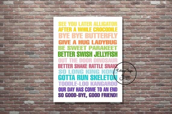 Goodbye Sign,See You Later Alligator, Till We Meet Again Penguin, DIGITAL,YOU PRINT, Teacher Classroom Art,Classroom Decor, 4 Sizes Included