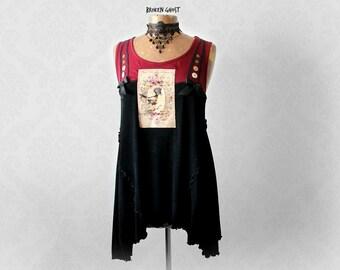 Women Art Shirt Romantic Top Boho Clothing Draped Black Tunic Eco Friendly Upcycle Babydoll Top Lagenlook Fashion Loose Shirt L XL 'CAMILLE'