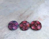 Poppies..  textured painted porcelain buttons