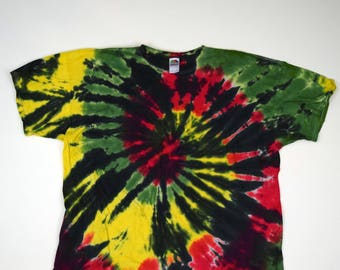 Rasta on Black Spiral Tie Dye T-Shirt (Fruit of the Loom Heavy Cotton Size 4XL) (One of a Kind)