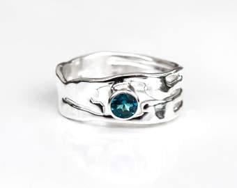 London Blue Topaz Ring, Recycled Silver London Blue Topaz Organic Design Ring, Birthstone Ring, Blue Topaz Solitaire Ring, Elementisle