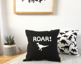 Personalised Monochrome Dinosaur Cushion