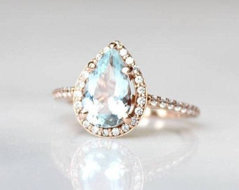 Pear Shaped Engagement Ring | Rose Gold Ring With Diamonds | Aquamarine Pear Cut Halo Wedding Ring | Anniversary Ring [The Islene Ring]