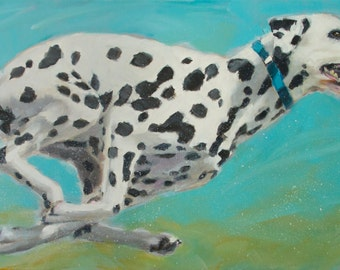 "Running Dalmation on Blue, Spots, Agility, High Energy - 24"" x 36"" Original Painting by Clair Hartmann"