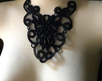 Black Beaded Lace Applique for Garments, Jewelry or Costume Design BLA 294beaded