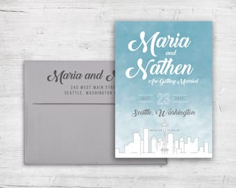 Save The Date - Seattle City Skyline - Seattle Skyline - Seattle Wedding - Customized - Personalized - Sky Tower - Pikes Place - Destination