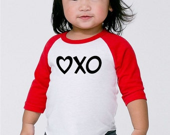 Valentines Day Love Shirt- Baby First Valentines Day Outfit- Love Hugs and Kisses XO Heart- Baby Shower Gift- Infant Toddler Kids- #004