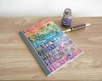 A5 Notebook, British Rainbow Travel Journal | Upcycled Great Britain Postage Stamp Art Collage | Mail Art Stationery, Postal Philately Gift