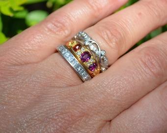Victorian 18K Yellow Gold Ruby Garnet & Diamond Stacking Ring