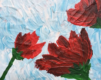 Rosy Poppies, Abstract, 5x5 Original Acrylic Painting on Stretched Canvas, Whimsical, Miniature
