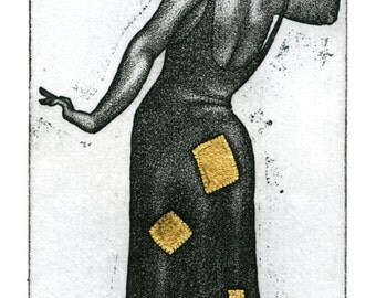"Etching with Gold Leaf detail - proverb: ""Better Whole than Patched in Gold"" - original art by Nancy Farmer, UK, unframed"