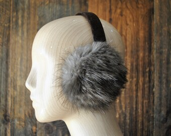 Fur Earmuffs / ear warmer / gray brown