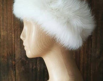 White Fox Fur Hat / earmuffs headband / ear warmer / wedding bridal