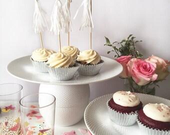 Mini-Tassel Cupcake Toppers - White