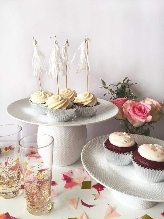 Mini-Tassel Cupcake Toppers - White