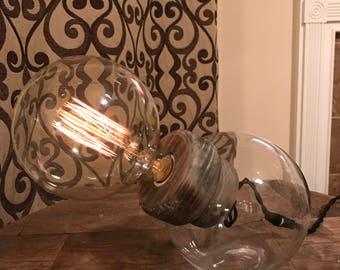 Desk Lamp, Edison Bulb Lamp, Industrial Lamp, Steampunk Lamp, Wood Lamp, Gifts for men, Rustic Lamp, Found Object