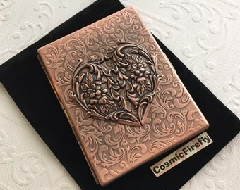 Big Copper Heart Cigarette Case Rustic Antiqued Copper Case Gothic Victorian Art Nouveau Style Vintage Inspired Copper Steampunk Case