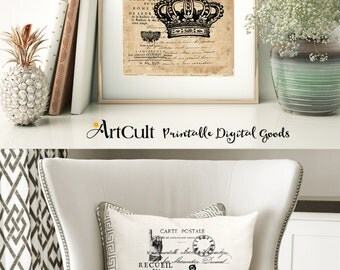 Printable Images SHABBY FRENCH COTTAGE No12 Two Digital Sheets to print on fabric / paper, Iron On Transfer for tote bags t-shirts pillows