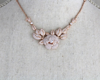 Rose Gold necklace, Crystal Bridal necklace, Wedding jewelry, Bridesmaid necklace, Wedding Necklace, Crystal necklace, Rhinestone necklace