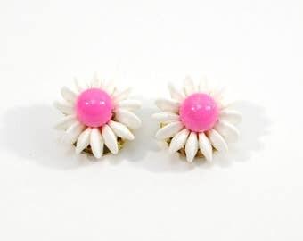 Vintage Clip Earrings, 80s Neon Pink Summer Earrings, Mimi di N Cluster Bead Clip On Earrings, Designer Signed Bead Jewelry