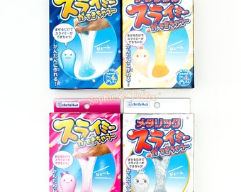 Slime Kit - Glitter Slime or Clear Slime | Blue Pink Metallic Gold Metallic Silver Color 100ml (Made in Japan)