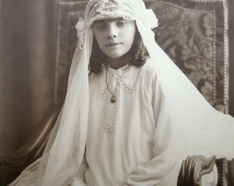 Antique first communion photograph, First communion girl, French first communion girl, Antique pretty girl photo, Antique bride photo