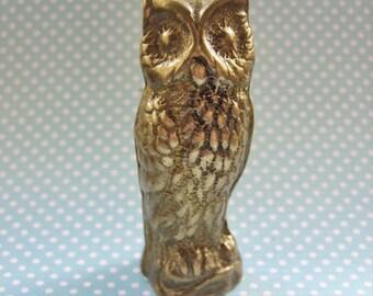 Antique owl statue, Antique copper owl figurine, Vintage owl figurine, Antique solid copper owl paperweight