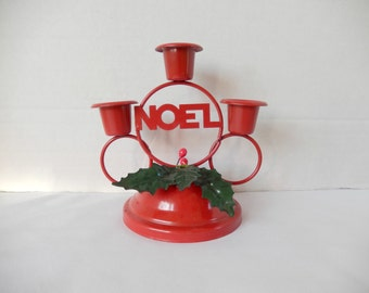 small Christmas candle holder, NOEL candle holder, red metal, Christmas decor, vintage Christmas