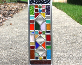 Multicolored Geometric Stained Glass Suncatcher