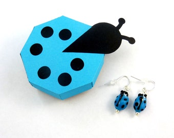 Handmade Ladybug Earrings and Handmade Ladybug Gift Box.   Dangle Earrings.  Light Blue Ladybug or Ladybird Glass Earrings.