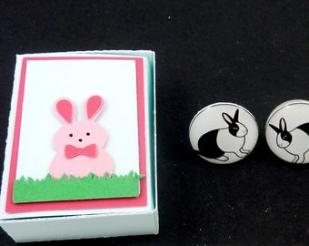 "Handmade Dutch Rabbit or Bunny Earrings and Handmade Rabbit Gift Box.   White Rabbit Post or Stud Easter Earrings. 5/8"" or 16 mm."