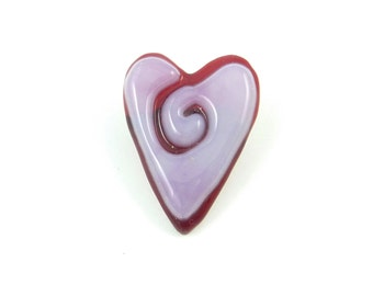 Fused Glass Heart Pin or Brooch.  Handmade by me.  Pink and Red.