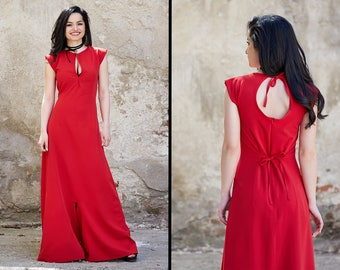 Red Jumpsuit, Red Maxi Dress, Red Boho Dress, Boho Bridesmaid Dress, Red Romper, Harem Jumpsuit, Red Jumper, Summer Jumpsuit, Red Overall