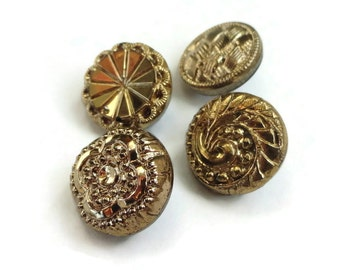 Glass Vintage Buttons - 4 Antique Black Gold 1/2 inch 12mm for Jewelry Supplies Beads Sewing Knitting