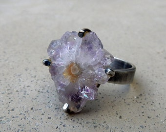 Crystal Ring with Amethyst Stalactite, Third Eye and Crown Chakra, Love Energy, Meditation, Adjustable Ring Size, Sterling Silver