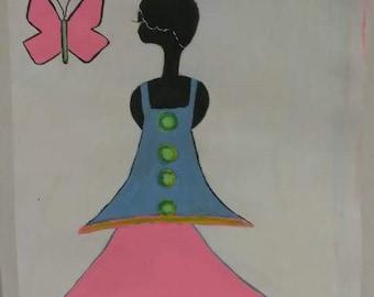 black  girl art,african american art, black child art,afrikkan art,  paintings, pink green wall decor, wall art,pink butterfly