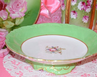 GREEN FOOTED PLATE, vintage Shabby Chic footed bowl