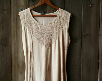 Sleeveless Dress Vintage Embroidered Rayon Bohemian Fashion In Off White Cream Color Vintage From Nowvintage on Etsy
